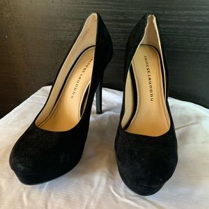 Chinese Laundry Black Suede Heels Platform Pumps 9